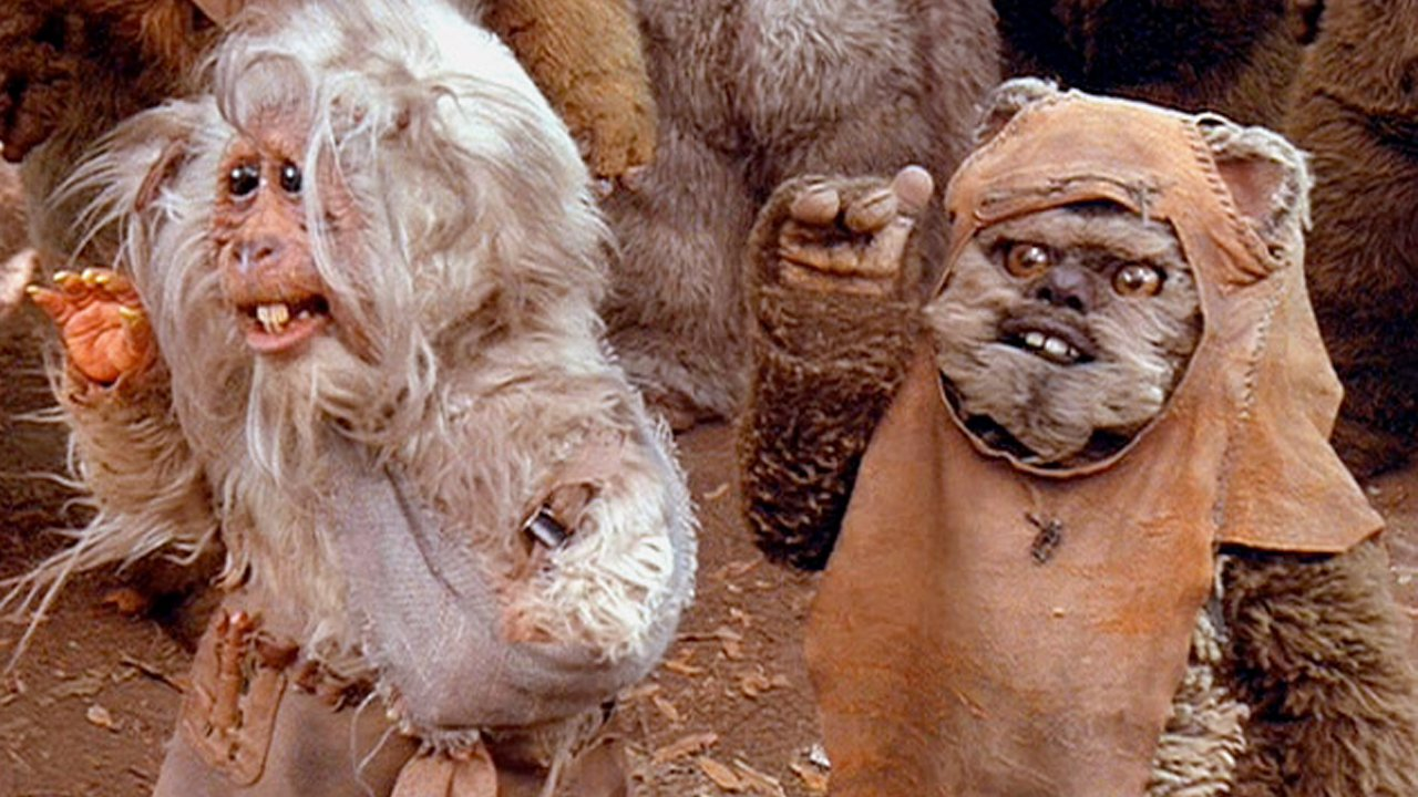 Beloved Ewok hero, Wicket, is joined by the ugliest addition to Endor's animal world Teek, a super-fast, mischievous sidekick in the sequel to  Caravan of Courage , 1985's  Ewoks: the Battle for Endor .