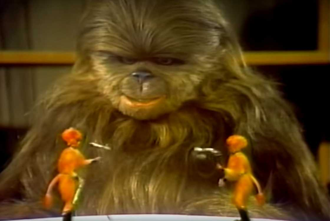 Chewbacca's son, Lumpy, enjoying one of many bizarre variety acts in the stupefying, atrocious TV cash-in,  The Star Wars Holiday Special .