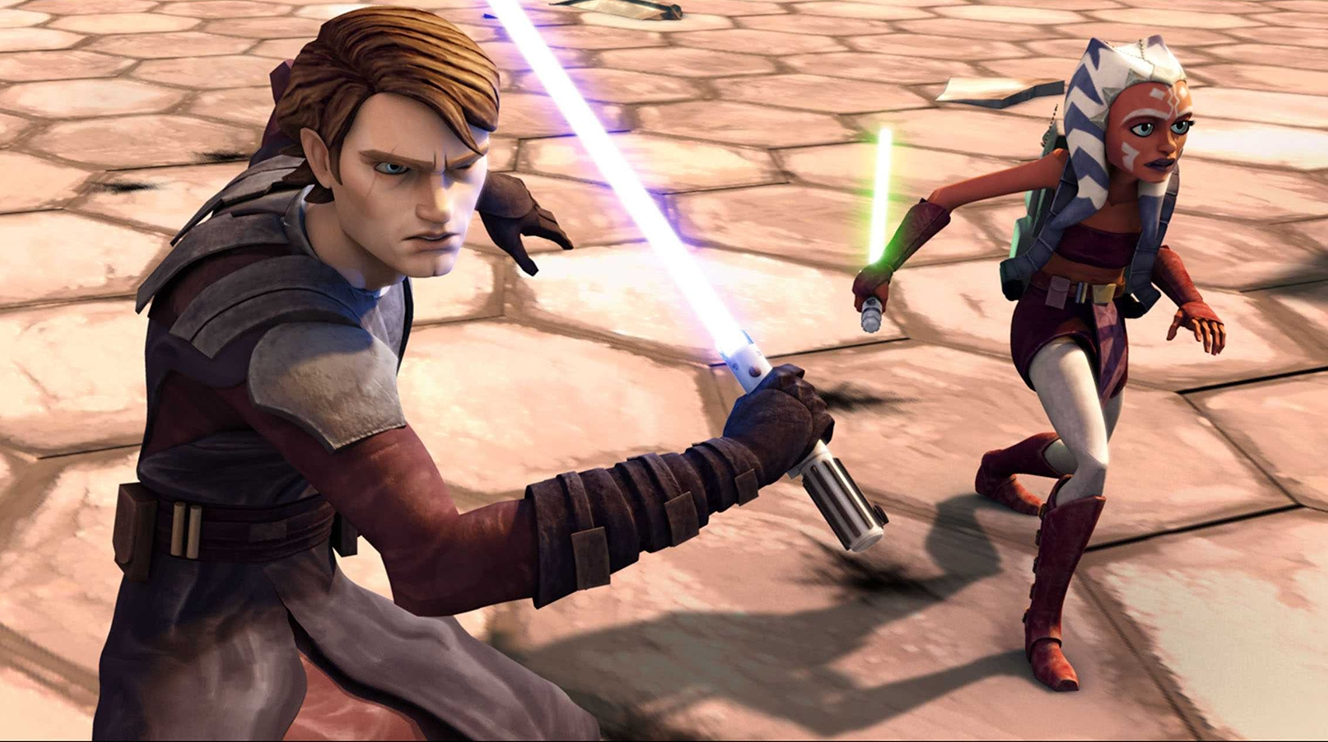 Anakin Skywalker is the unwilling master to a new Jedi padawan, Ahsoka, in  Star Wars: The Clone Wars .