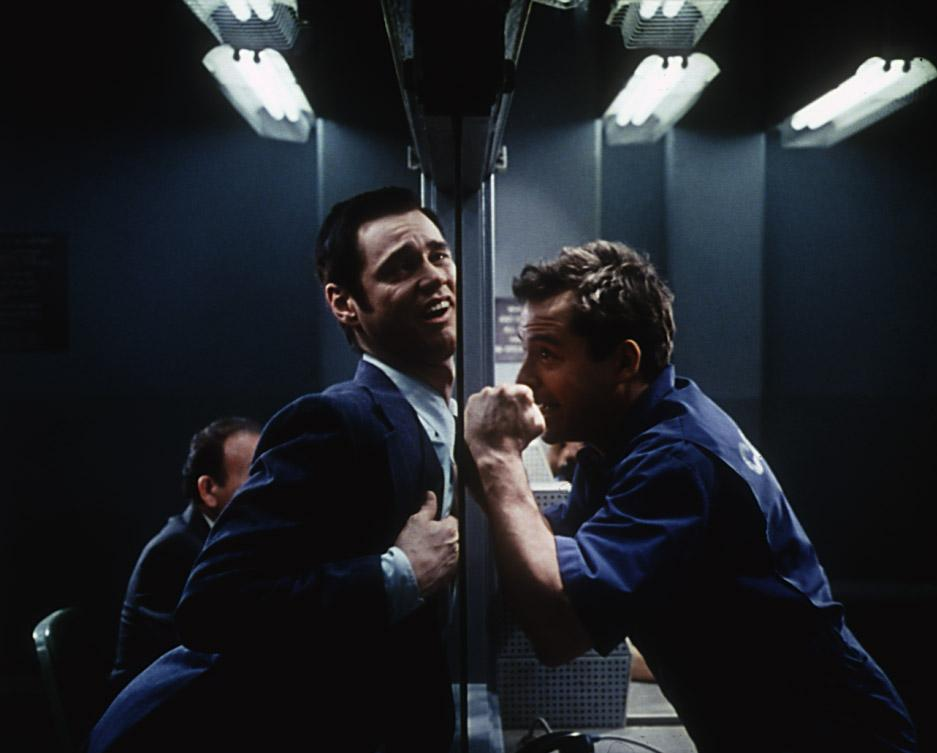 Jim Carrey is both Matthew Broderick's best friend and his worst enemy in  The Cable Guy.