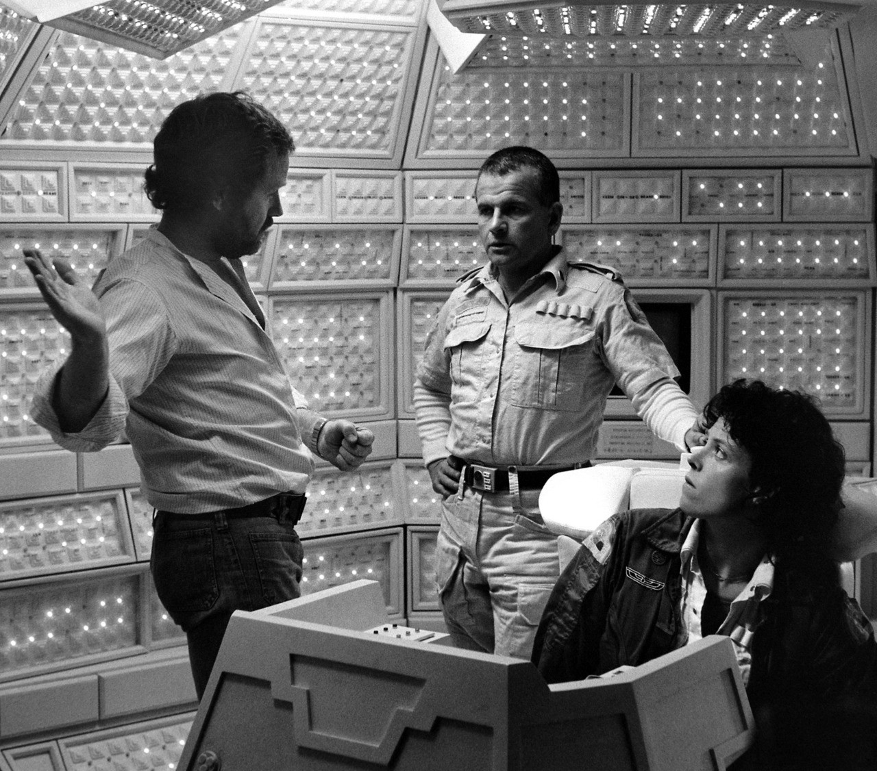 Ridley Scott directing Ian Holm and Sigourney Weaver on the set of  Alien .
