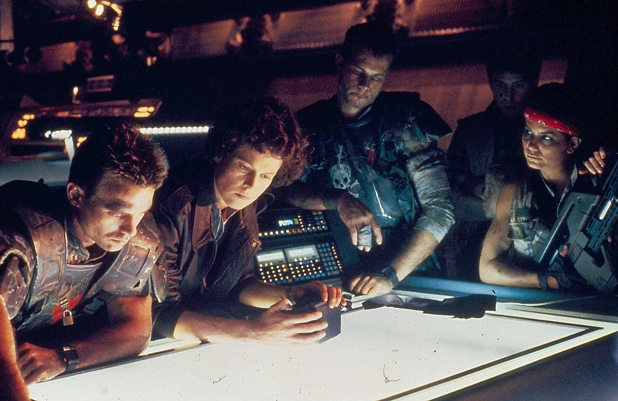 When Ellen Ripley's story continued in James Cameron's  Aliens it was equally important that she should be surrounded by another supporting cast of well-defined roughneck characters – in this case a platoon of marines whose appearance and dialog James Cameron modelled on soldiers from the era of the Vietnam War.