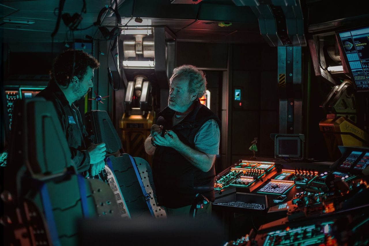 Danny McBride and director Ridley Scott on the set of  Alien Covenant.