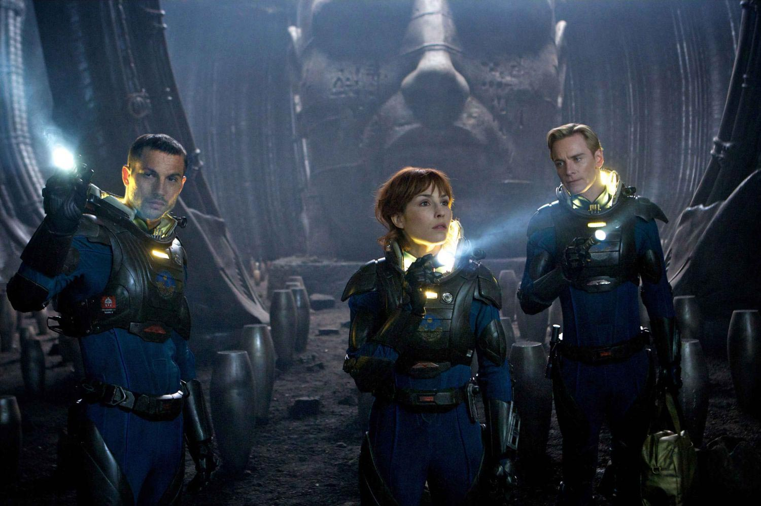 Logan Marshall-Green, Noomi Rapace and Michael Fassbender explore the ruins an Engineer's temple in  Prometheus.