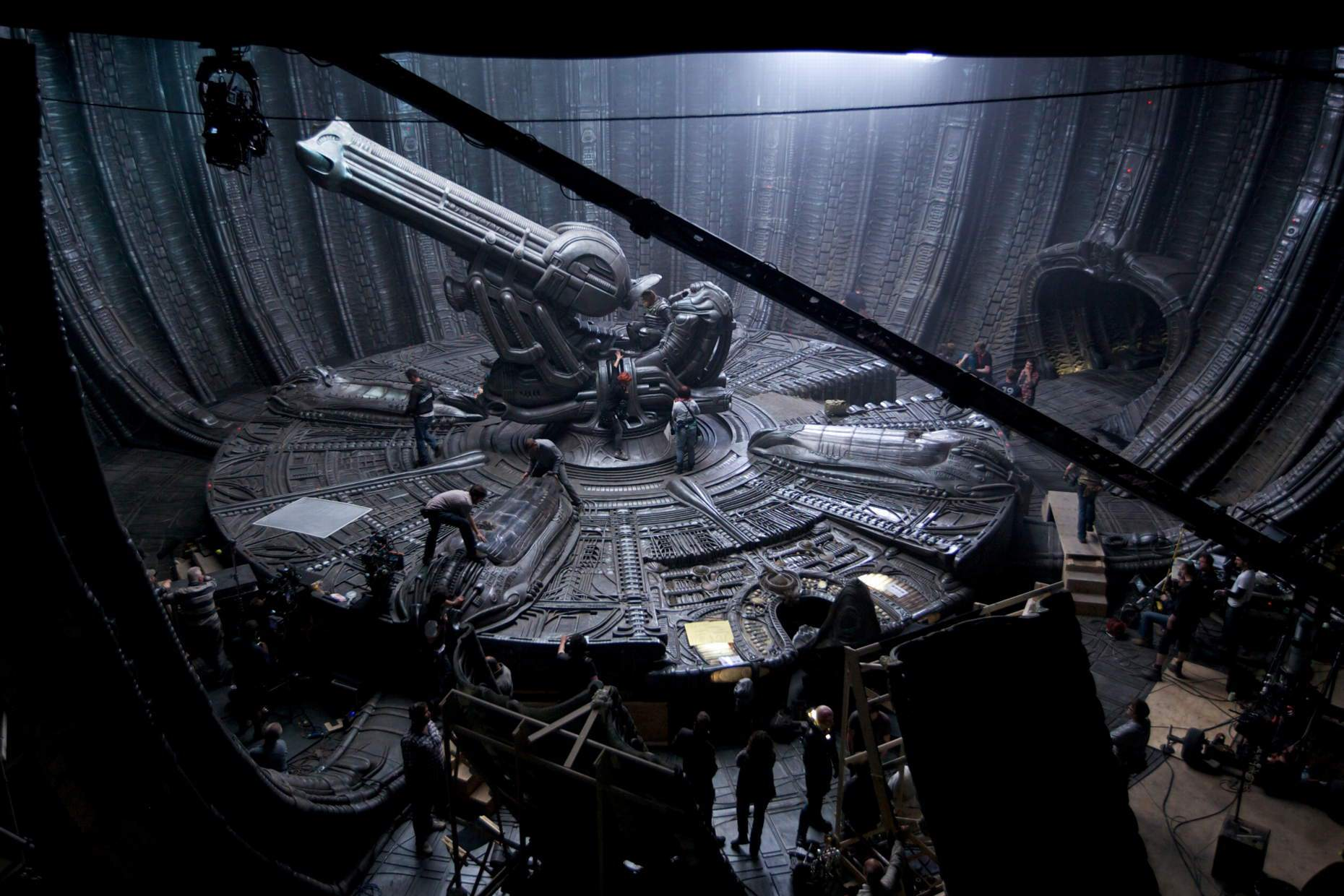 Behind the scenes of 2012's  Prometheus , which set out to explain not only where the human race came from, but also to explain where  Alien's space jockey, his derelict spacecraft and his xenomorph parasites came from.