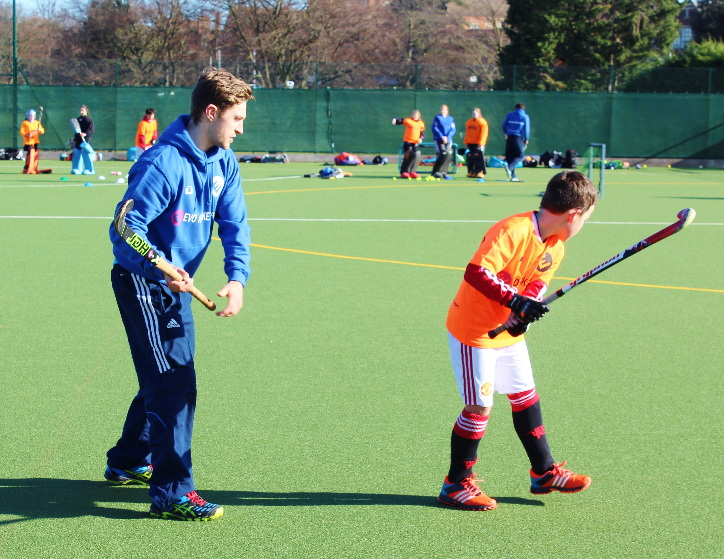 GB U23s international Jonty Griffiths working with youngsters on the EVO camp