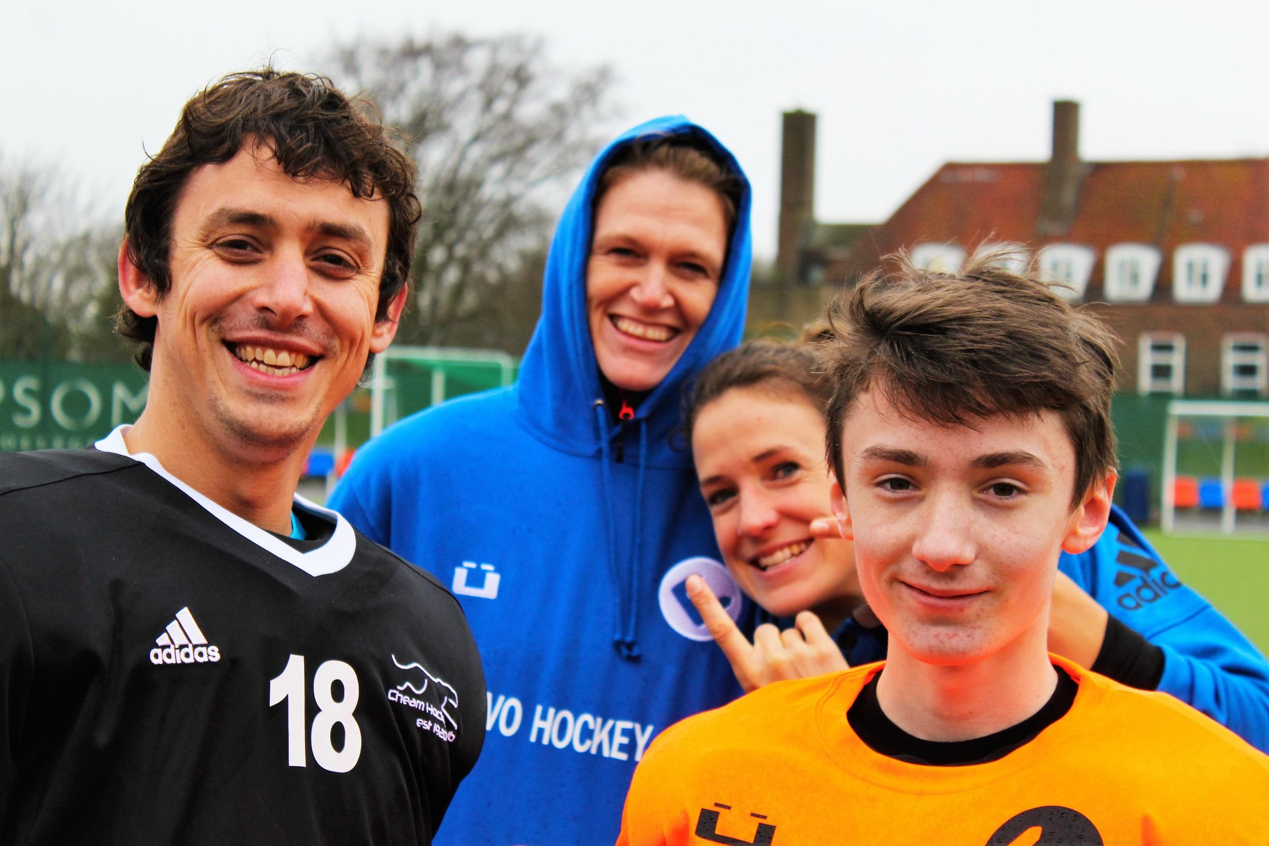 Goalkeeping prizewinner Cameron Mason-Apps gets photobombed by EVO coaches Janne Müller-Wieland, Yvi Frank & Charlie Ede