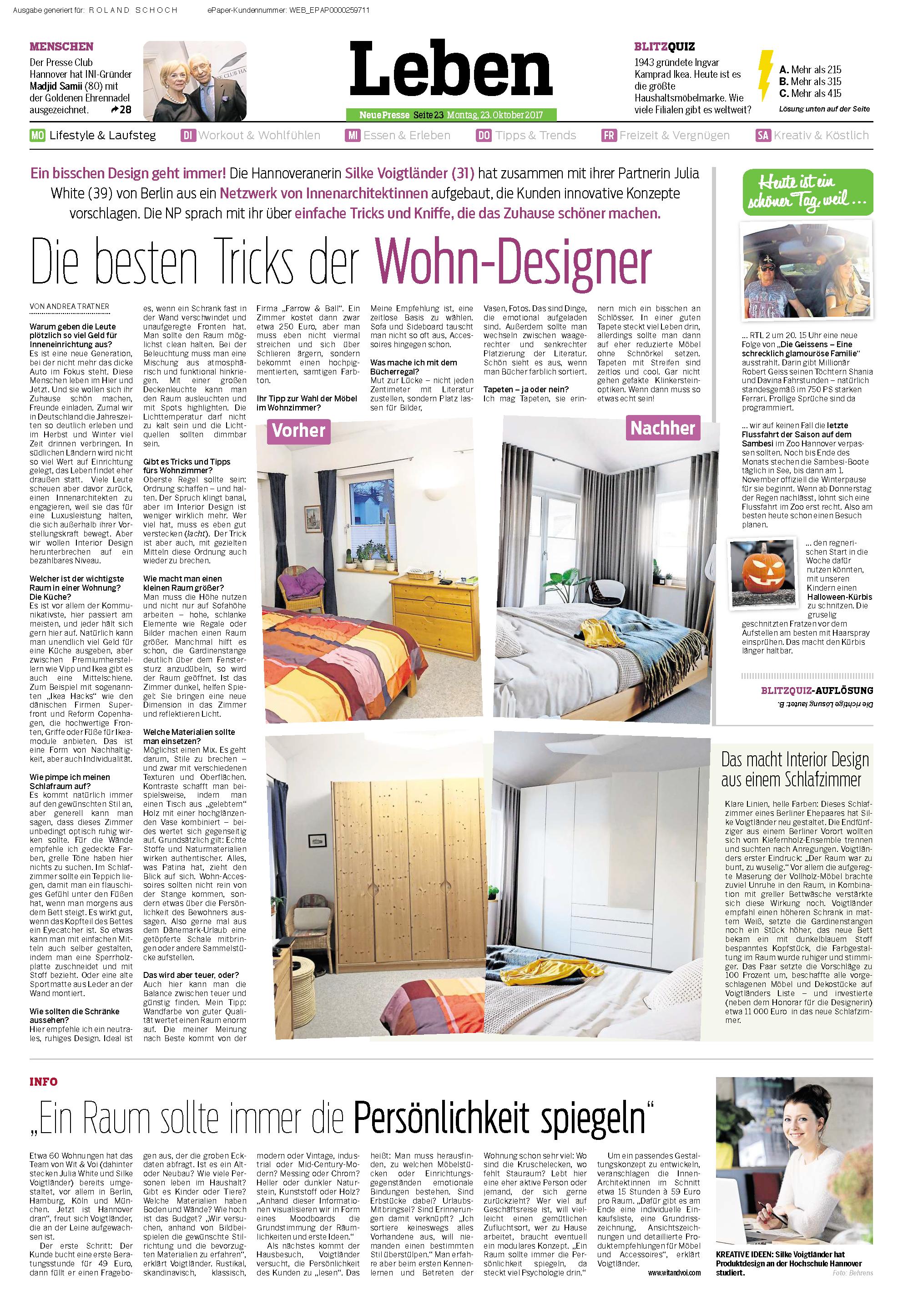 Neue Presse - Die besten Tricks der Wohn-Designer