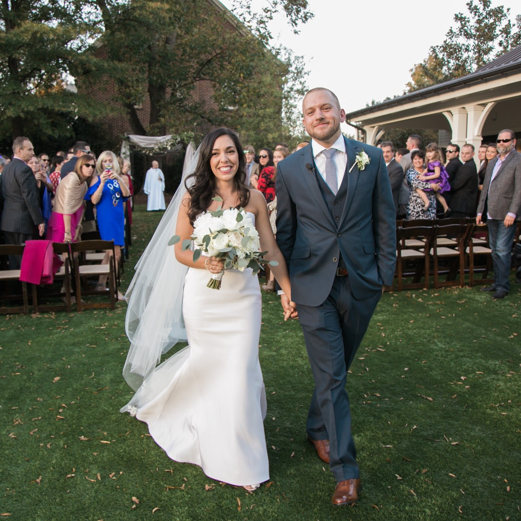 Alina & Trevor - It was all sunny skies for this late fall ceremony at the Merrimon Wynnne in downtown Raleigh. It's one of our favorite places to photograph because both the inside and outside are gorgeous.