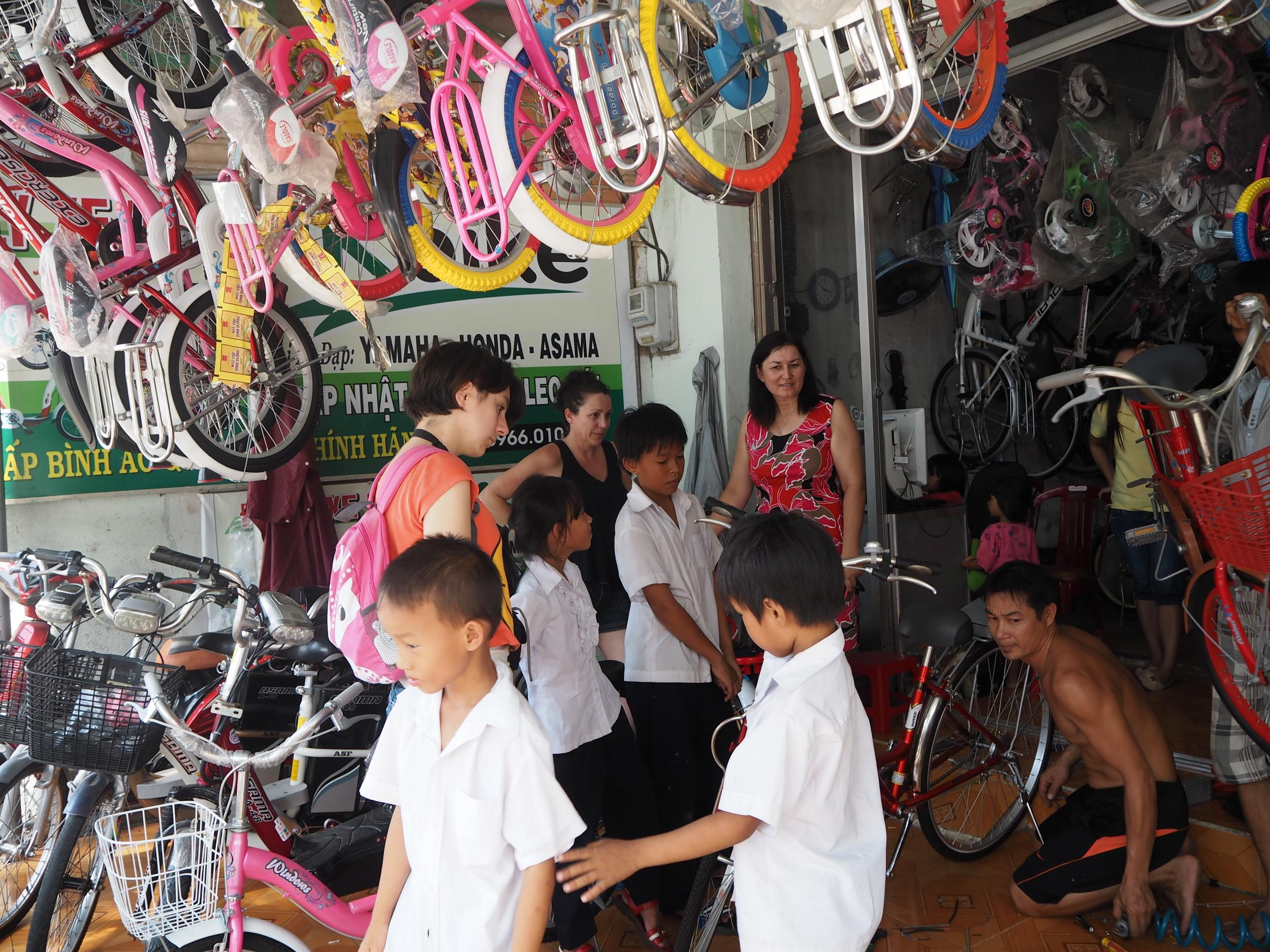 They were so excited choosing their bikes albeit still in shock
