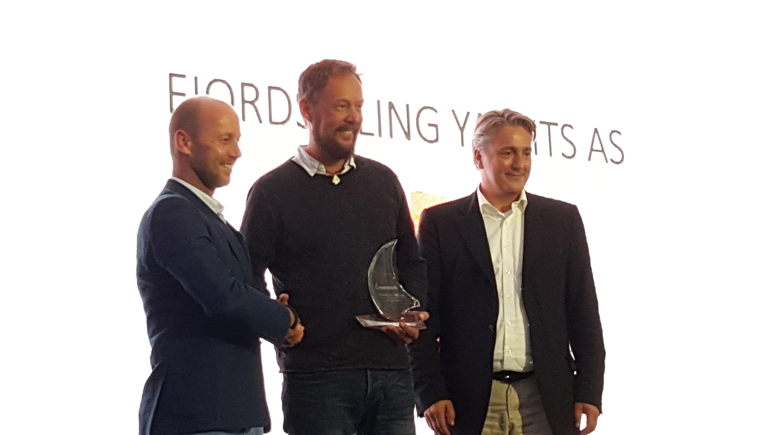 Salgssjef Arnoud Van Oudheusden, eier av FjordSailing Yachts Bjørn-Vidar Bårtvedt og CEO i Hanse Group Dr. Jens Gerhardt