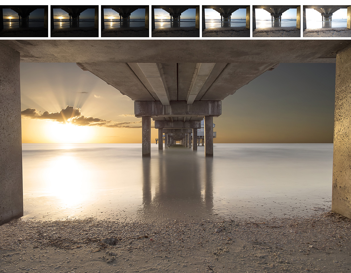 The image above shows the seven exposures used to create the completed image below them. Note how by themselves, any of the seven exposures are either too dark or far too bright. When digitally tone-mapped together however, a much more compelling image can be created. Pier 60, Clearwater Beach, Florida.