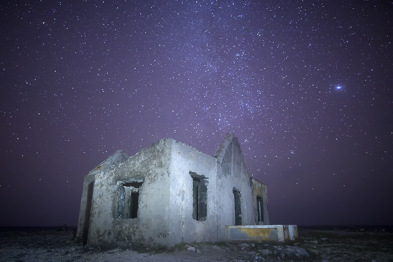 """I recently shot these lighthouse ruins near the southern coast of Bonaire in the Dutch Caribbean. When initially shot, the stars looked great but the building was underexposed. """"Painting"""" it with a flashlight during the long exposure did the trick."""
