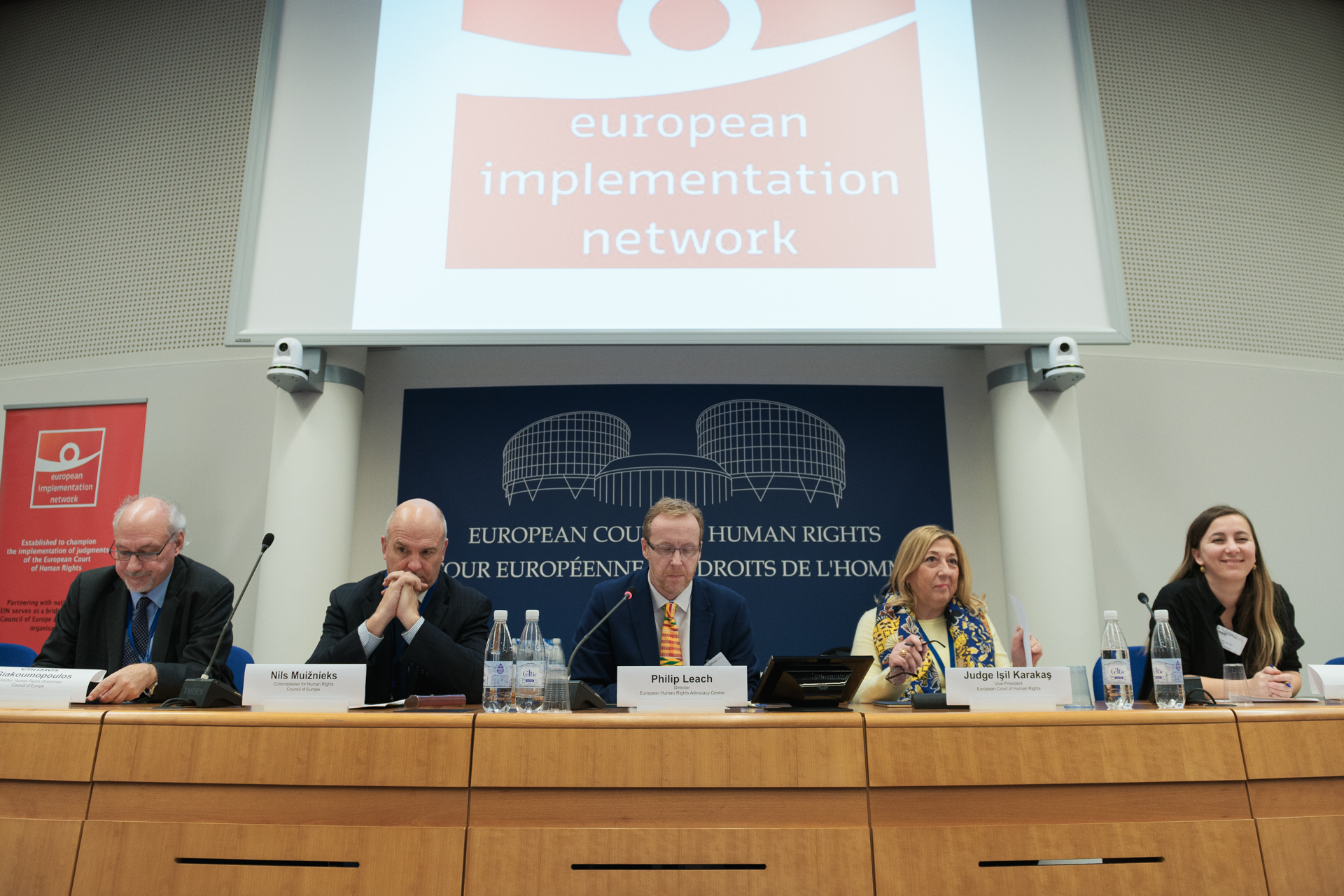 From left:Christos Giakoumopoulos, Director of the Human Rights Directorate of the Council of Europe, Nils Muižnieks, Commissioner for Human Rights of the Council of Europe, Professor Philip Leach, Vice-Chair of the EIN, Judge Işil Karakaş, Vice-President of the European Court of Human Rights, and Professor Başak Çal ı , Chair of the EIN  © Arnaud Fonquerne