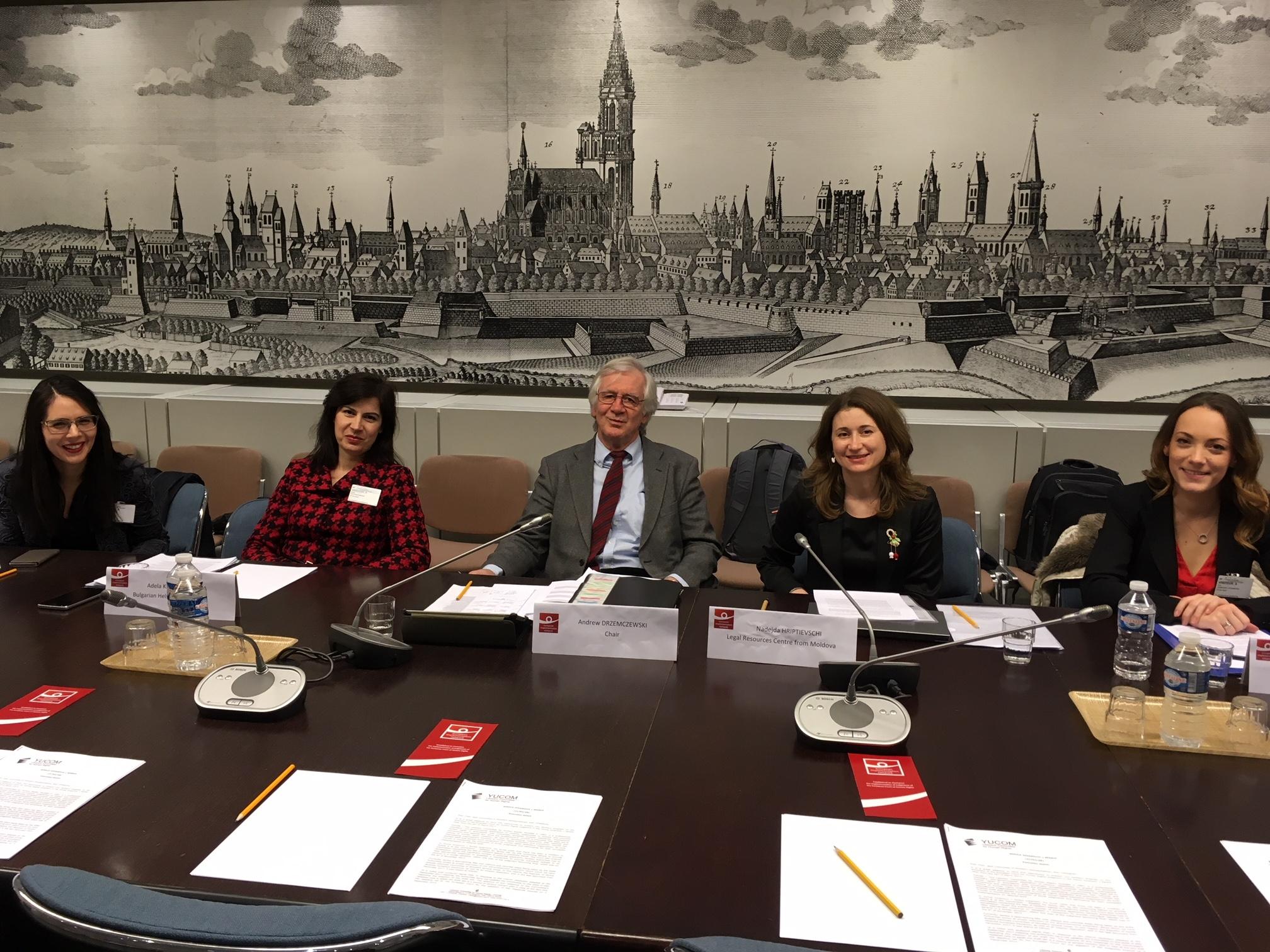 Chair Andrew Drzemczewski and the NGO representatives. Photo: EIN