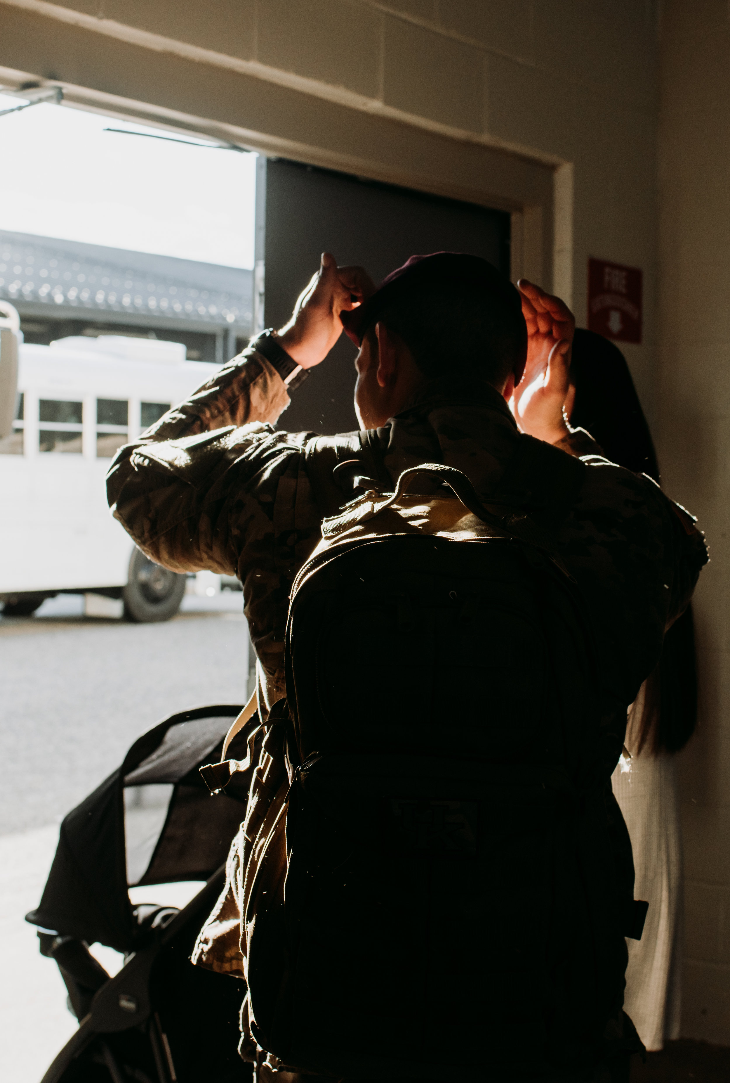 Pausing at the door to put on his beret, Tyler is headed to the unit to drop off sensitive items, then home.