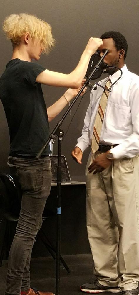 Recording. Sound Designer Lucas Fendlay & actor James Whitfield.