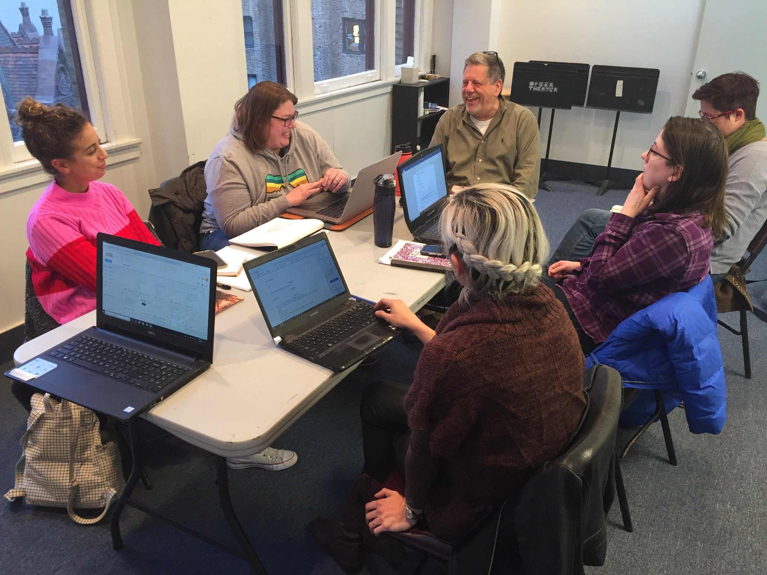 Production meeting; from left around the table to right: costume designer Shelby Kay, scenic designer Meghan Jones, director Kevin Glaccum, props manager Amanda Hatch, production manager Lauren Tracy, sound designer Melissa Dunphy