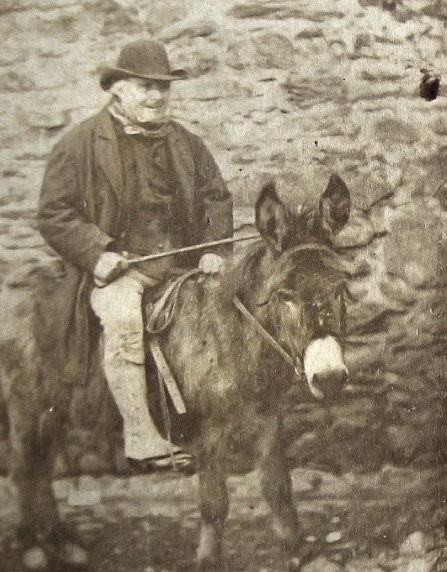 My father, using a donkey to pull a wagon of devil fruit