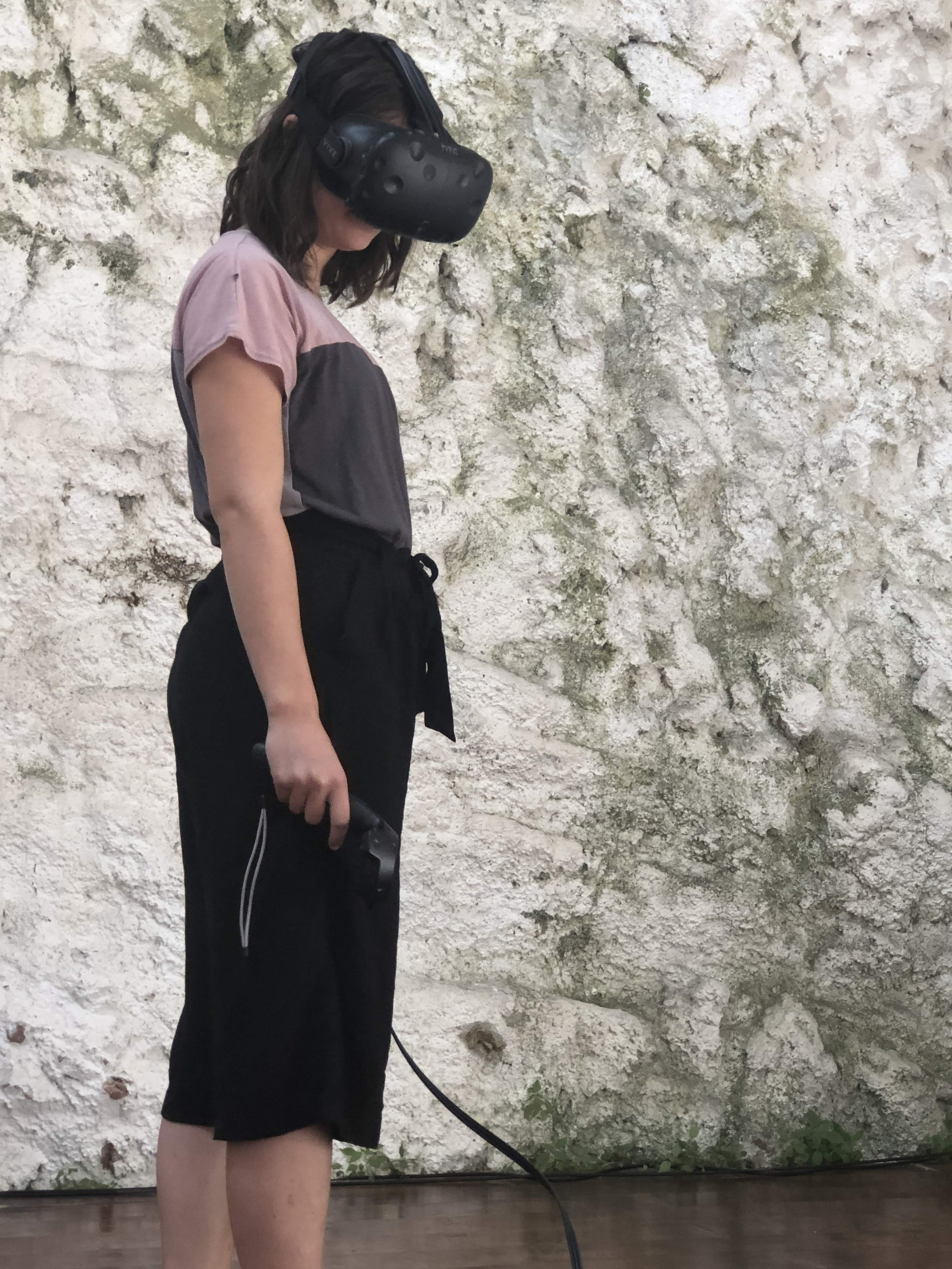 A VR mask in use