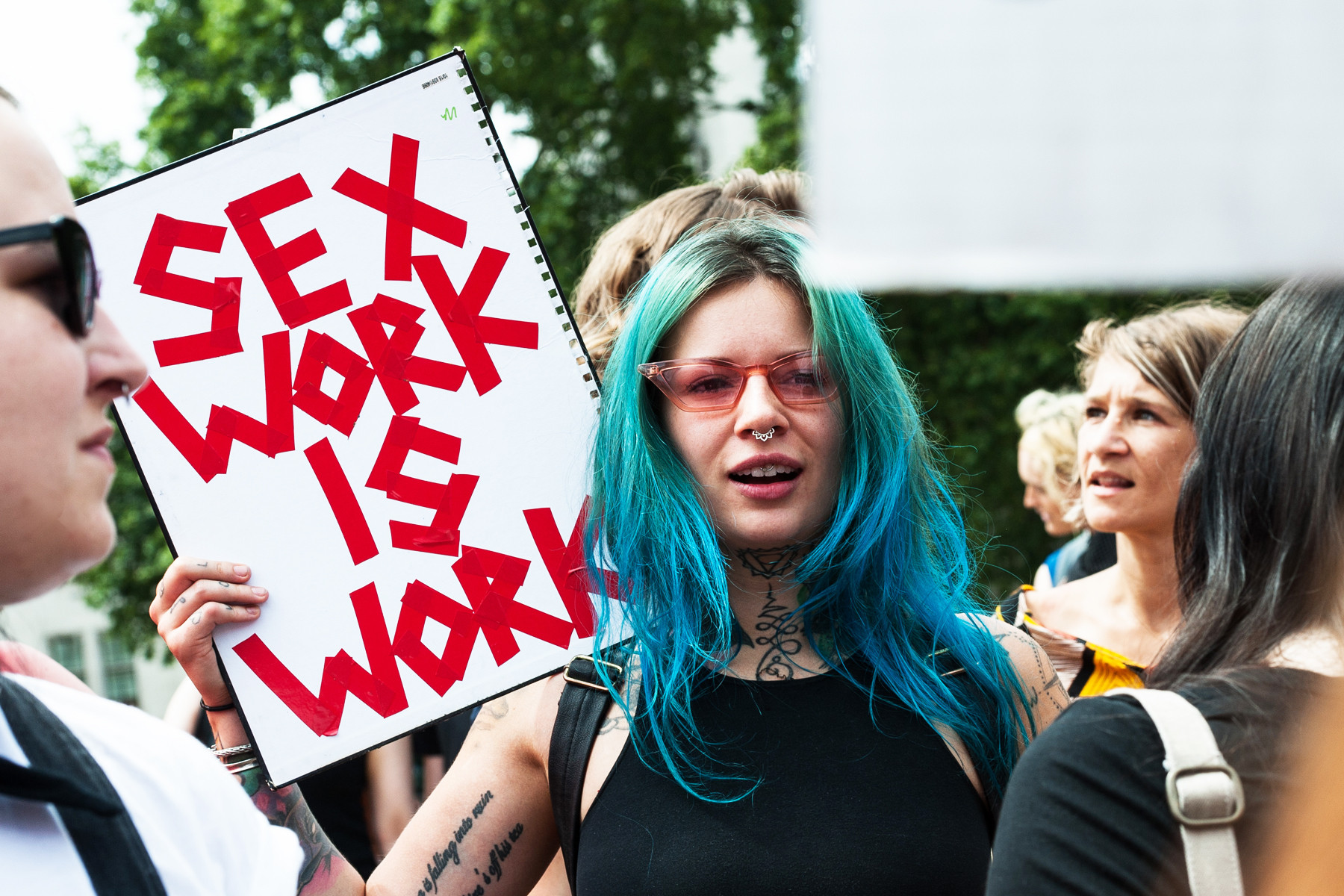 Protestors advocating for sex workers
