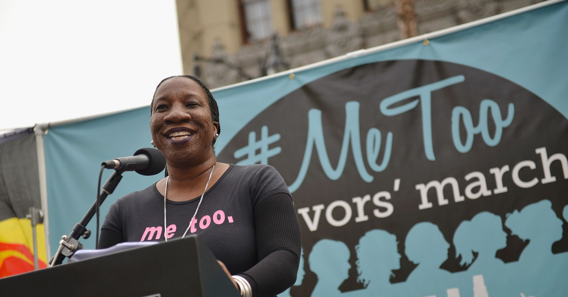 Tarana Burke speaking at a #MeToo march