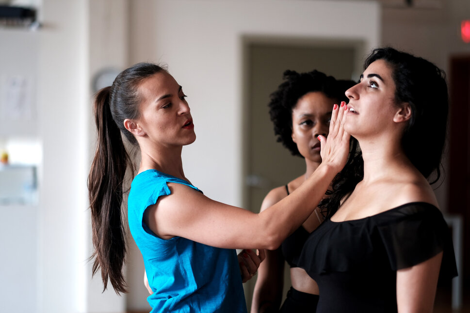 Just as when acting out a script, there should not be a surprise line, when performing intimacy, there should not be a surprise kiss.  Intimacy choreographer Siobhan Richardson at work