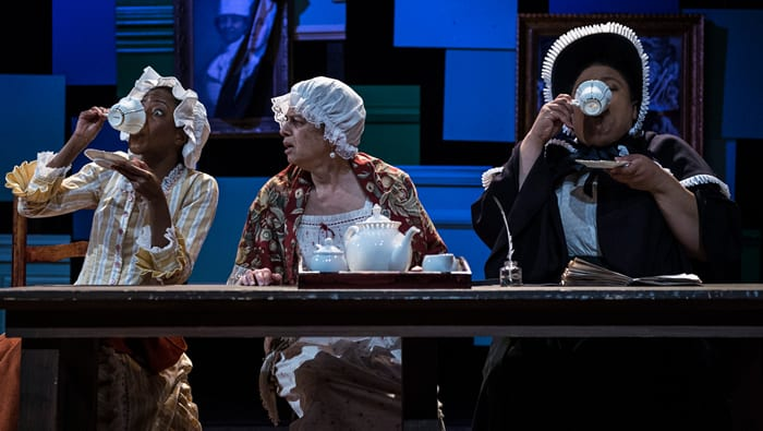 Tai Alexander, Jane Petkofsky, and Taunya Ferguson in  The Most Spectacularly Lamentable Trial of Miz Martha Washington  at Ally Theatre Company // Photo: Teresa Castracane