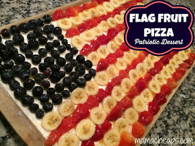 (Image Credit: mamacheaps.com )    There are so many variations of this one of pinterest. But basically the beauty is all in the decoration in my opinion and how you choose to make your very own fruit pizza American flag.  For this one you'll need to make or buy a cookie dough for the crust, cream cheese for the frosting and strawberries, banana slices and blueberries for the toping.  The final touch is in the topping just take a look above!    Original Post Here: http://www.mamacheaps.com/2014/06/flag-fruit-pizza-patriotic-dessert-recipe.html Idea from: Meagan Jeanette Brock