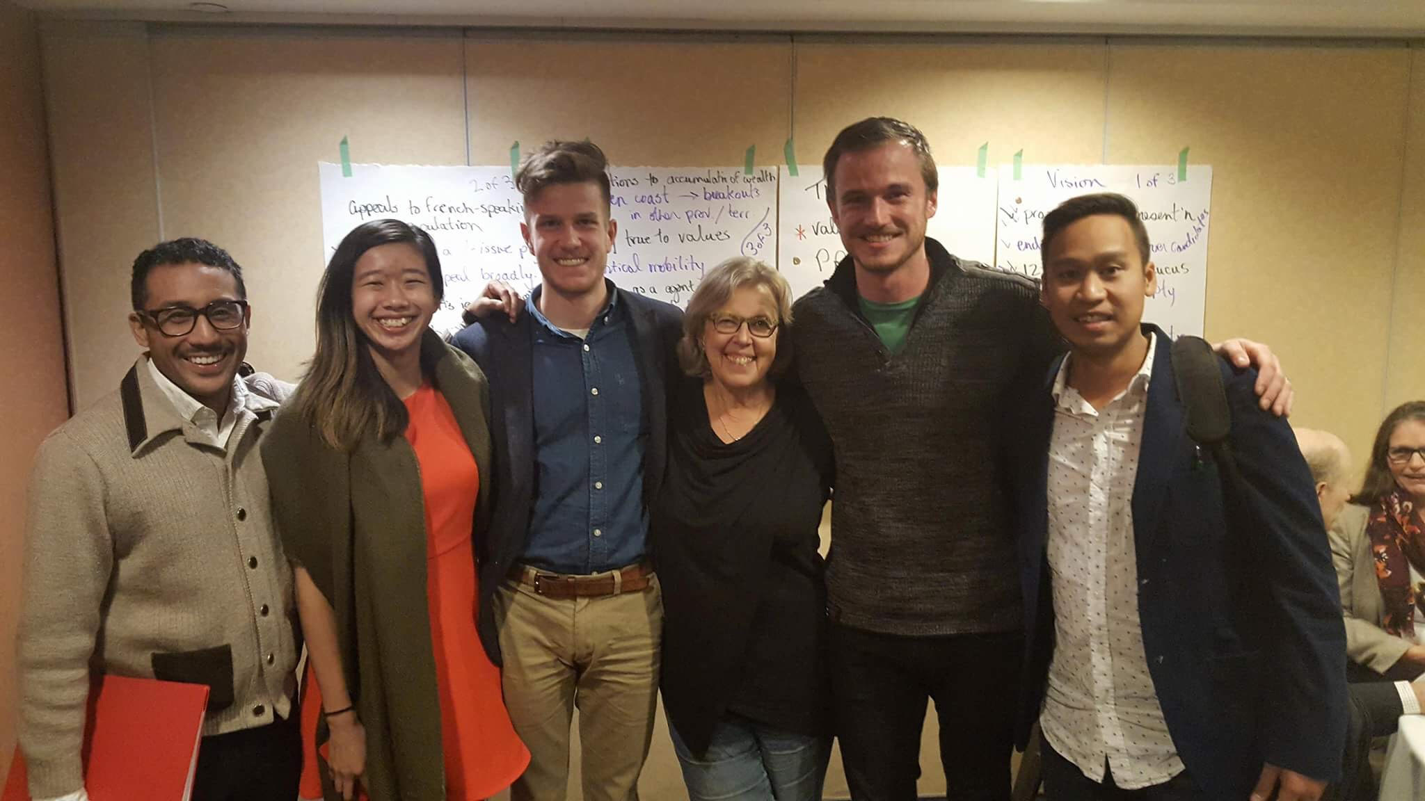 Shawn (far left) with Elizabeth May and other Young Greens on federal council: Cherie Wong, William Gagnon, Ian Soutar and Thana Boonlert.