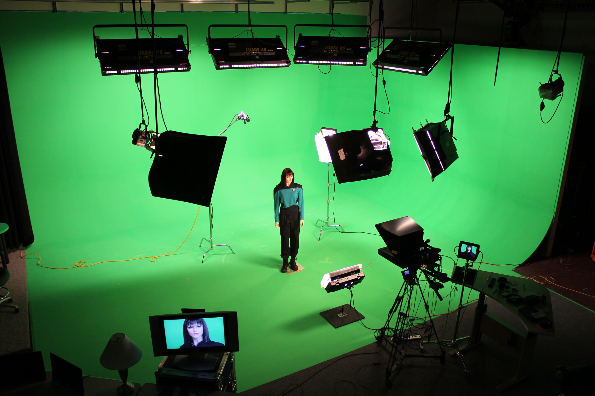 Setting up for a green screen shoot