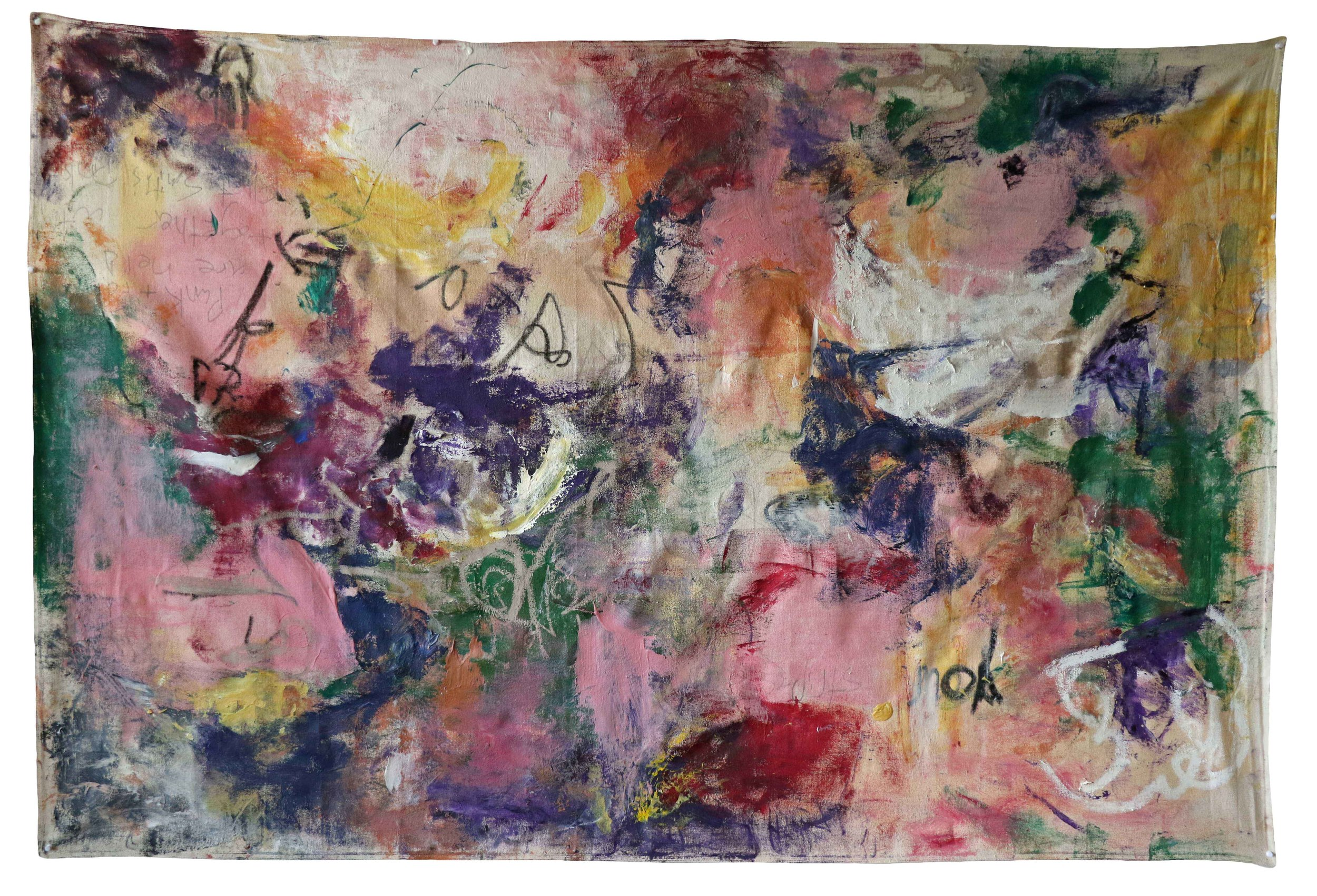 """punk & folk are held together by Elliot Smith's pinky , New York City, 2016  oil, graphite, and oil pastel on canvas  48""""x72"""""""