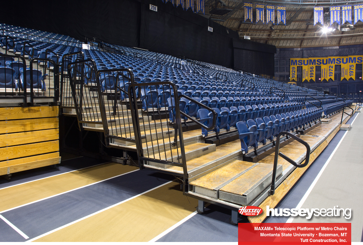 End rails on MAXAM+ telescopic platforms with Metro Chairs