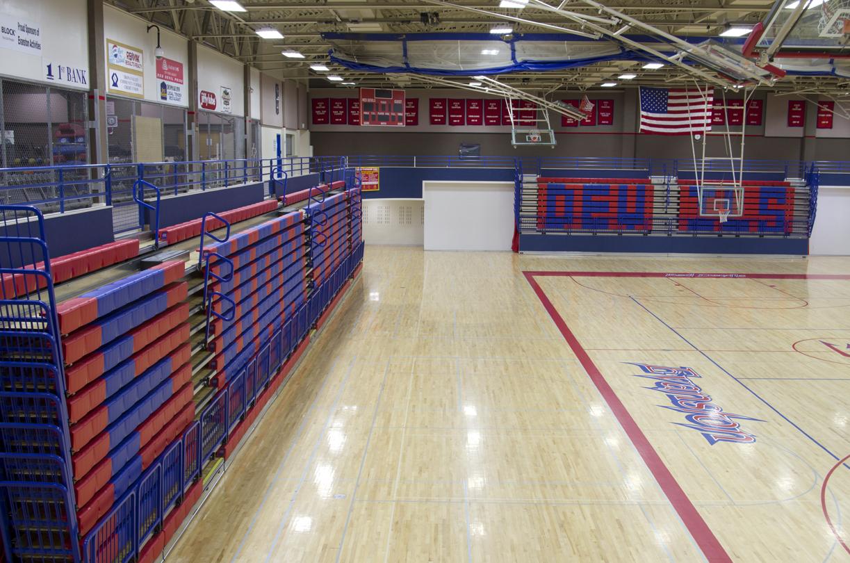 High school gym bleachers in Wyoming