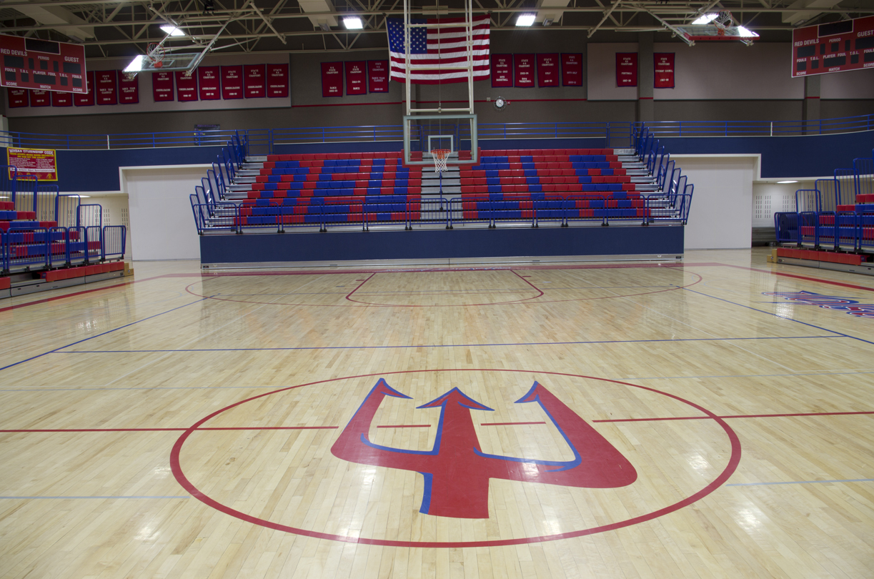 Evanston High School gymnasium bleachers