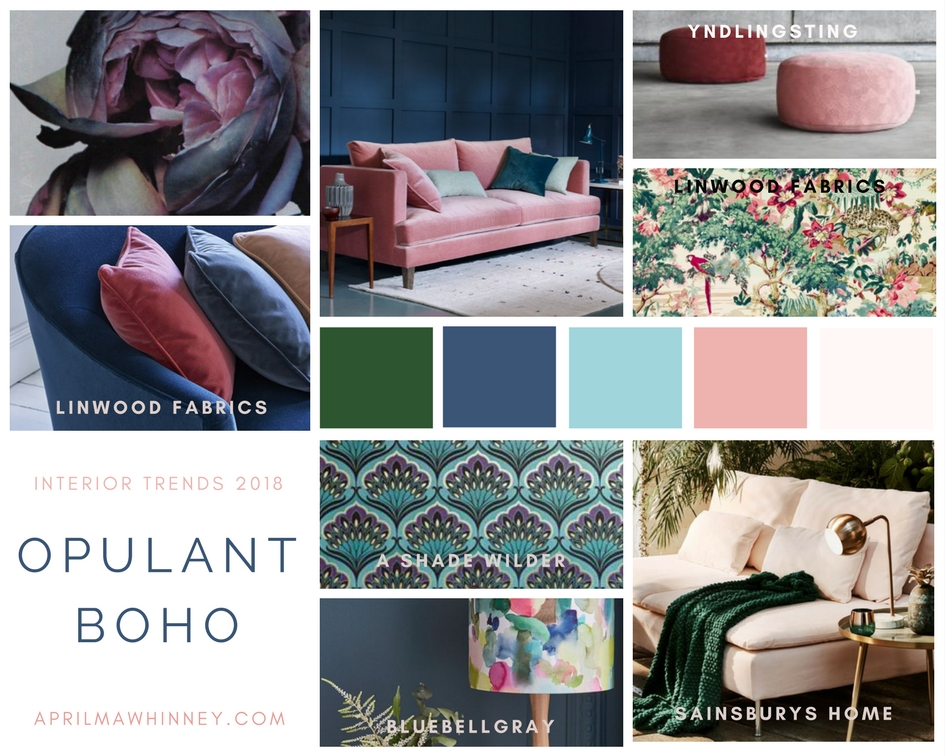 Interior Design Trends 2018 - Emerald green, teal, augerine and blush all come together to create apaces which are full of boho elegance | Home Decor Trends | Interior Design Inspiration 2018 | www.aprilmawhinney.com