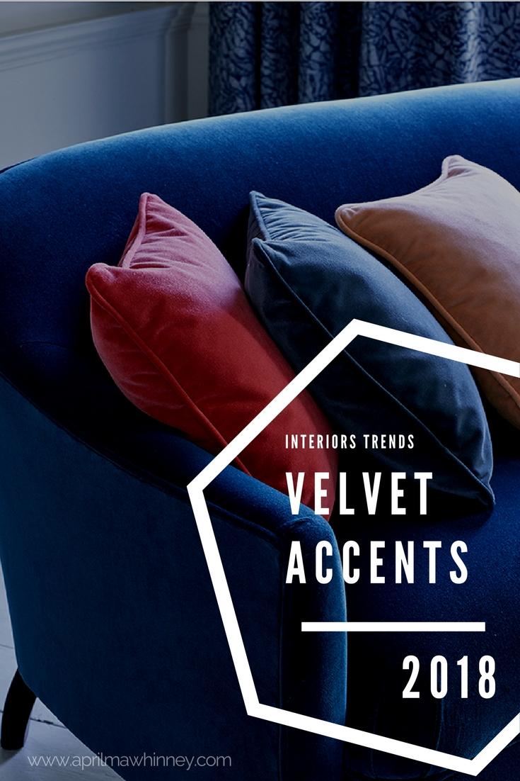 Interiors Trends 2018 Velvets | Blush, Navy, Aubergine, Green | Home Decor Trends | Linwood Omega Fabrics | www.aprilmawhinney.com