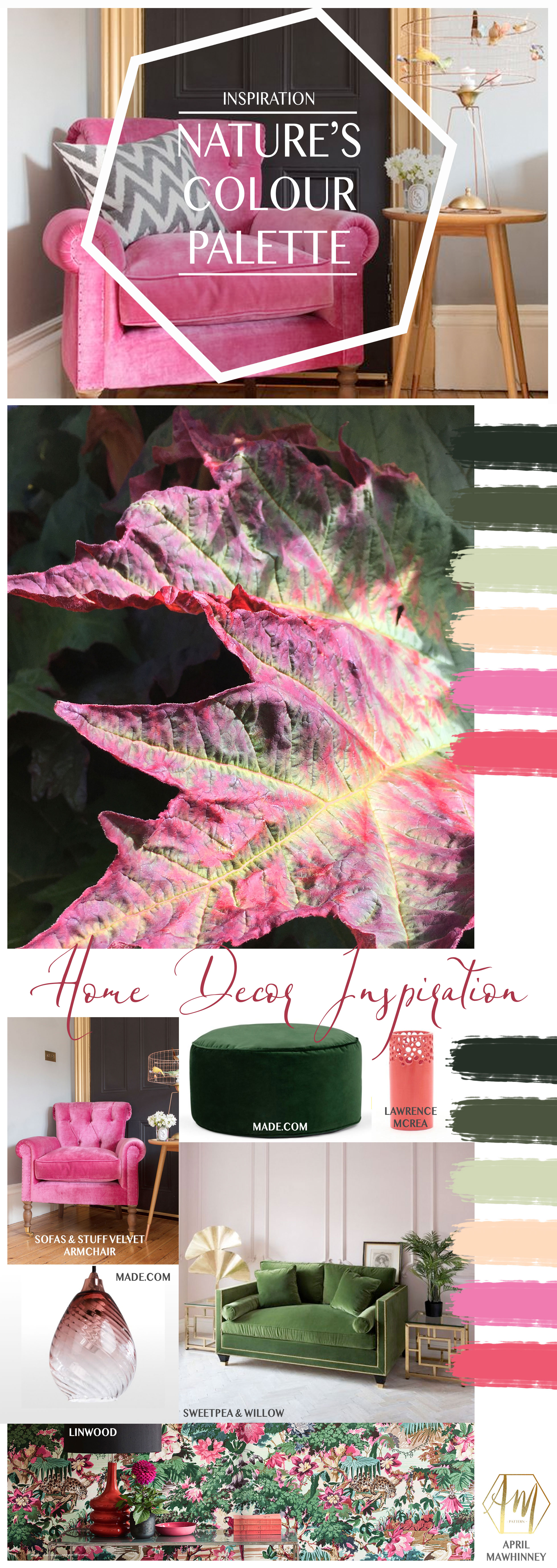 Nature's Colour Palette Inspiration for Home Decor | Interior design | Textile Design | Surface Pattern Design | April Mawhinnney Design Studio