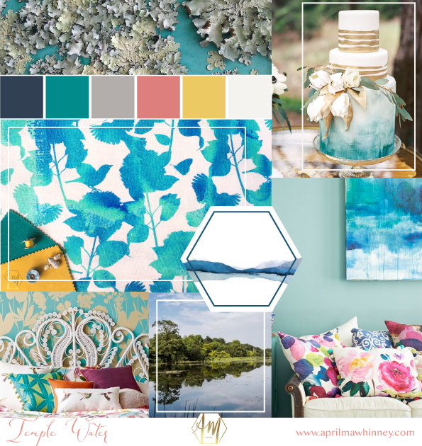 Moodboard | April Mawhinney Design Studio | New fabric Collection | Home Decor | Linen Fabric | UK Printed fabric | Upholstery fabric | Giftwares | Temple Water Fabric Inspiration
