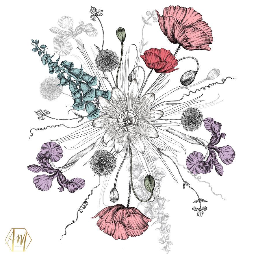 April Mawhinney Design Studio | Textile Design | Floral Circle | Pen Drawing | Illustration | Home Decor Designs