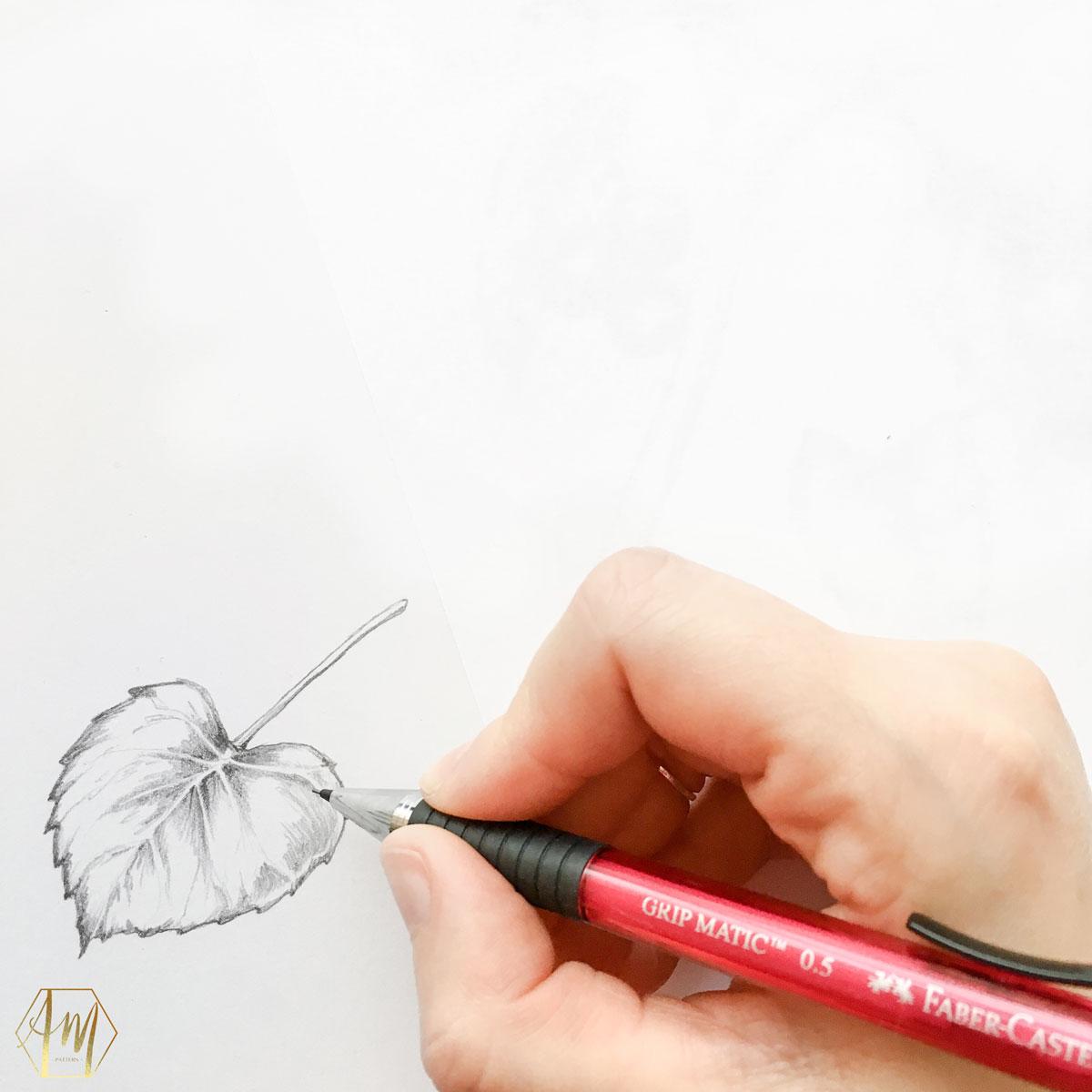April Mawhinney Design Studio | Leaf pencil drawing | Illustration | Surface Pattern Design
