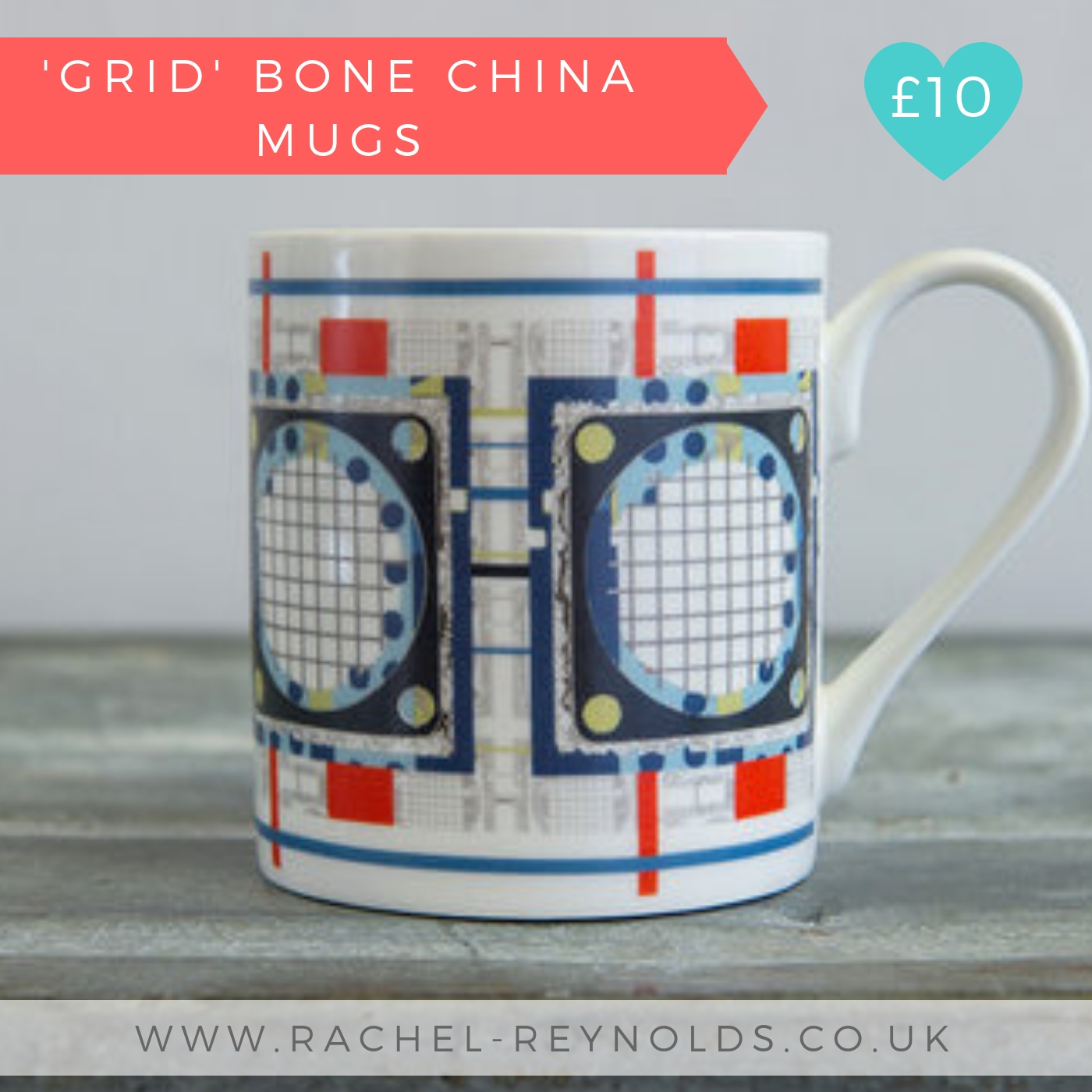 Grid Bone China Mug | Rachel Reynolds | Christmas 2018 Designer Maker Gift Guide