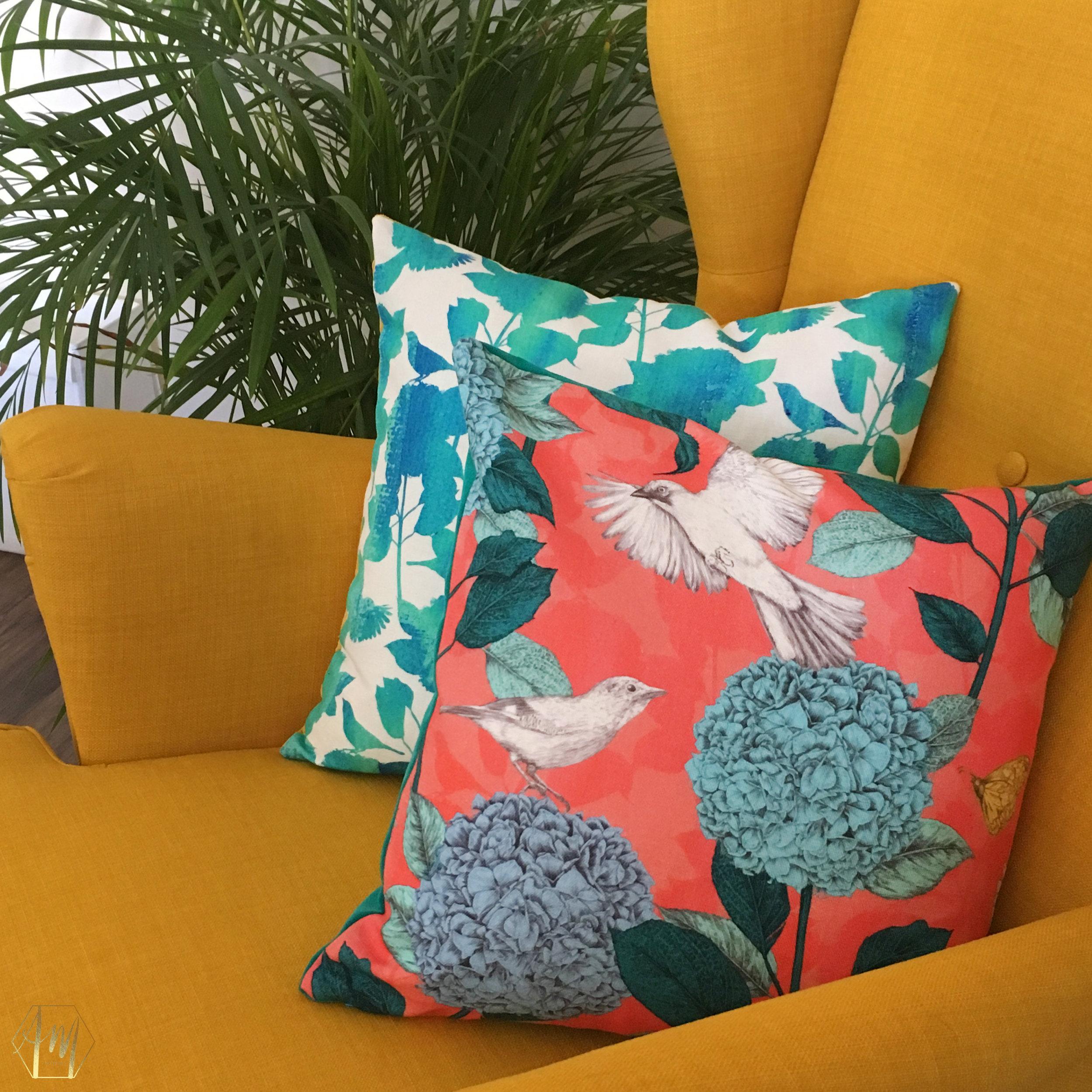 Linen and velvet cushions | Printed Fabric | Textile Design| Irish Design | APRIL MAWHINNEY DESIGN STUDIO