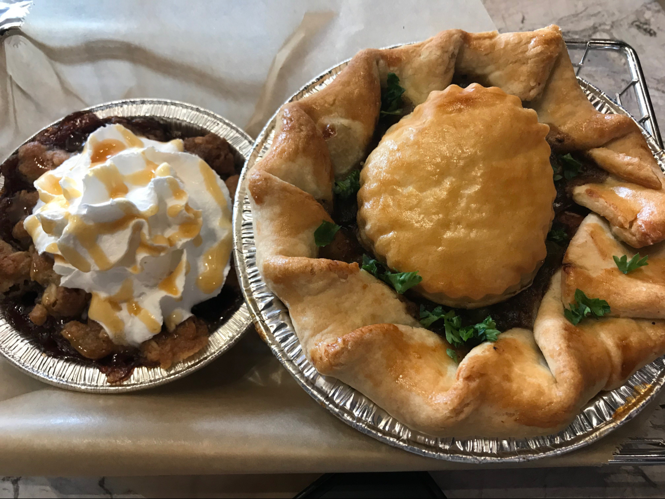 The Beef and Stout savory pie (right) and the Caramel Apple Pear Crisp sweet (left). Delicious!