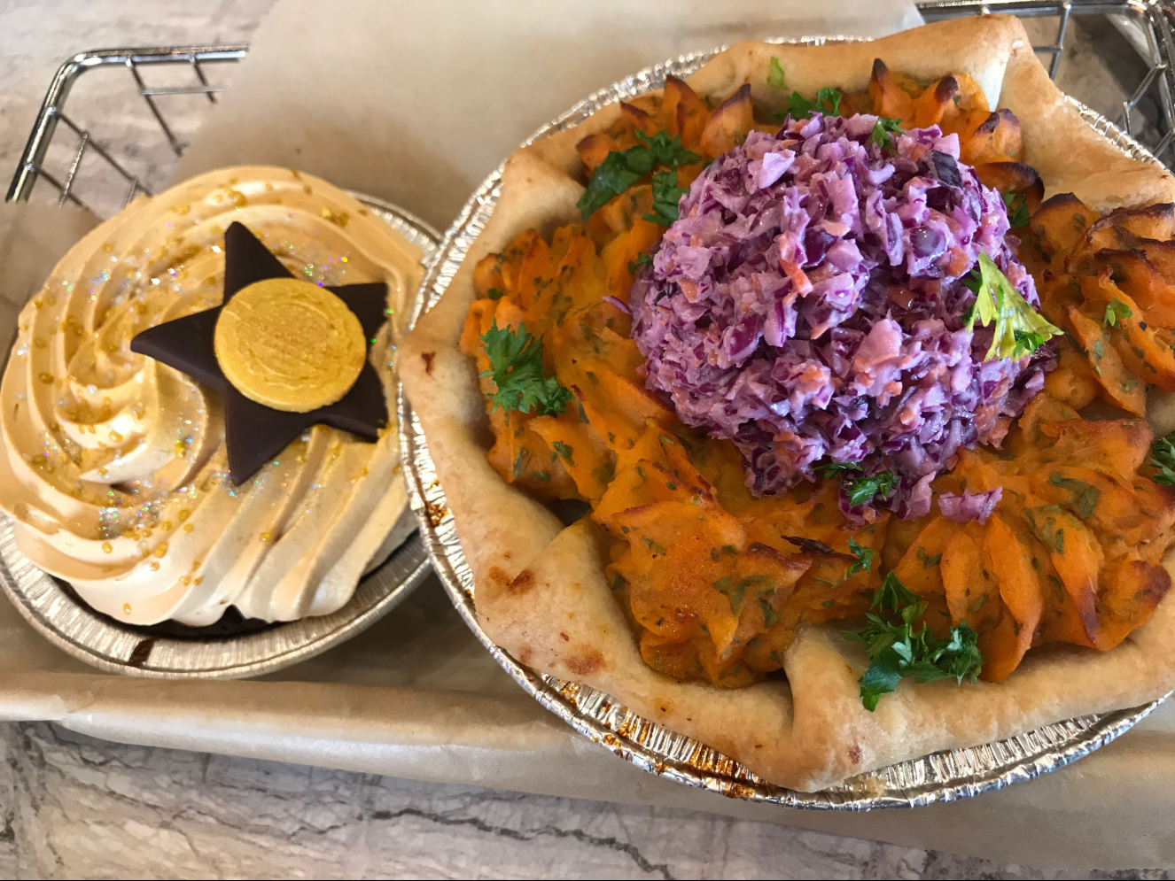 My favorite savory pie: the Pulled Pork and Sweet Potato (on right). Paired with a sumptuous Chocolate Dulce de Leche pie (left).