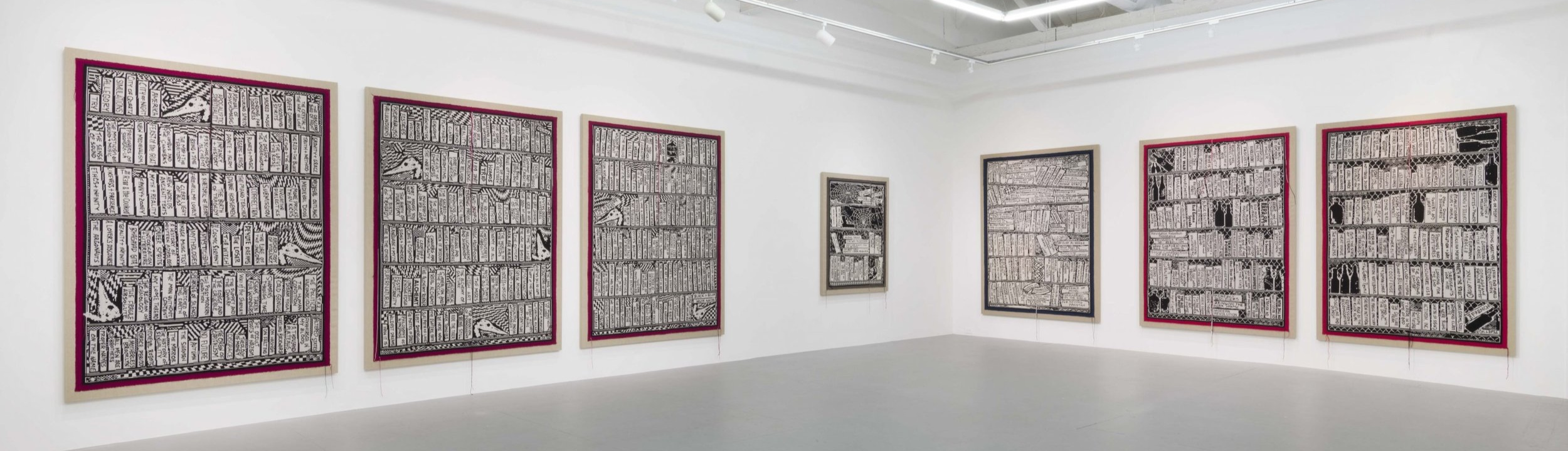 """Installation view of """"Libraries"""" at Gavlak, 2019.  More images here."""