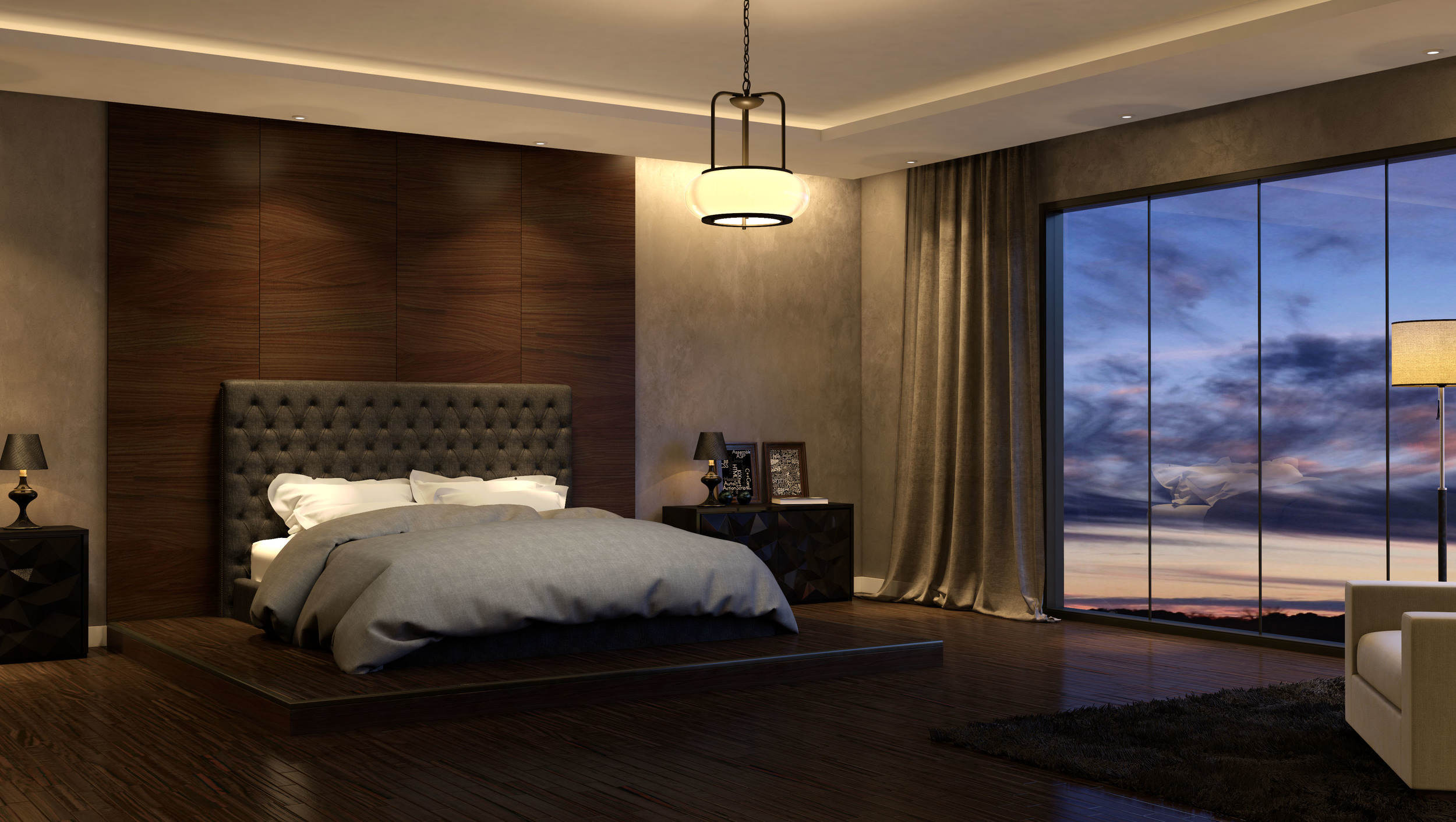 CGI Bedroom Light Fixture Set Photography