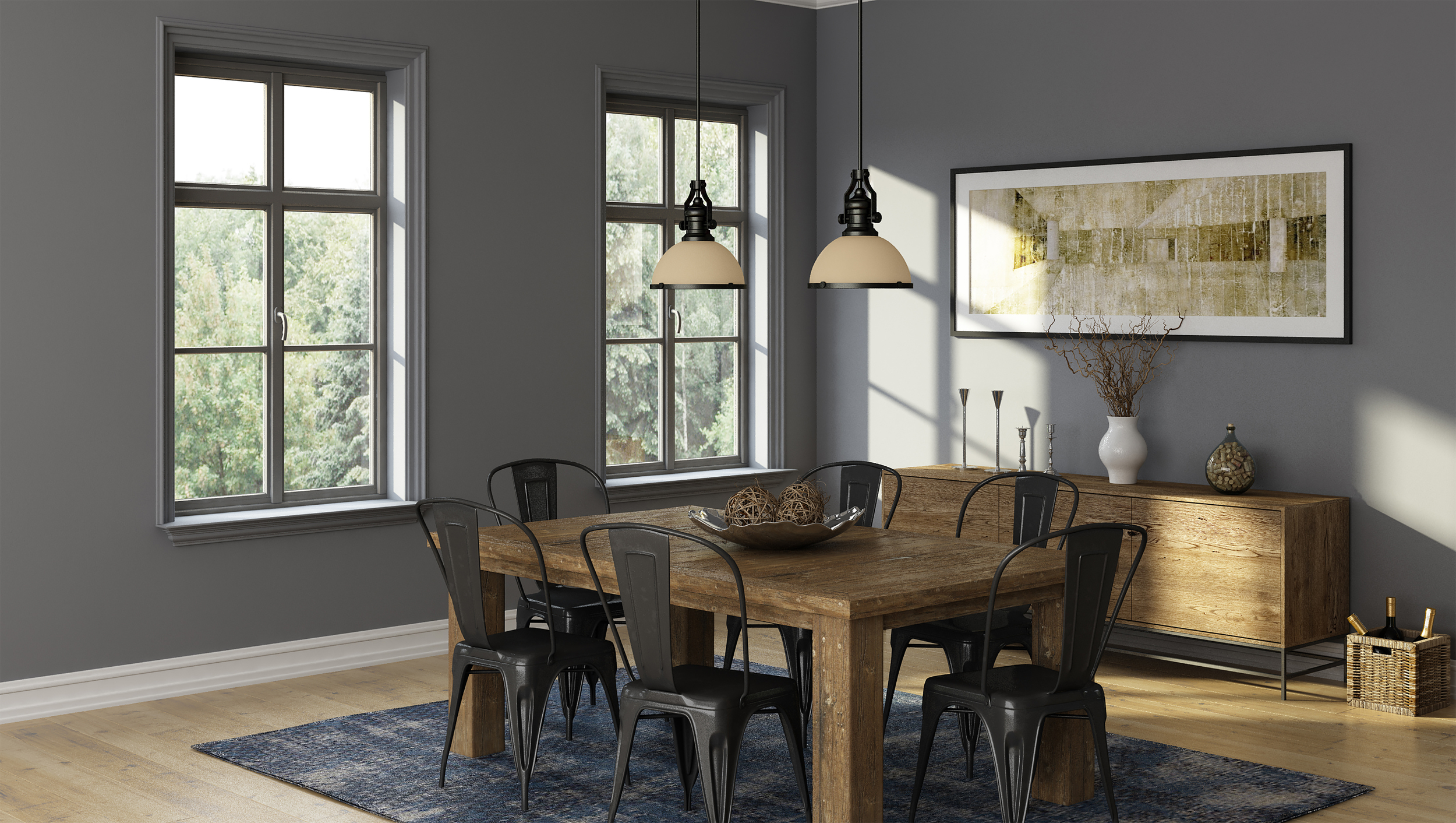 CGI Dining Room Lighting Application Photography