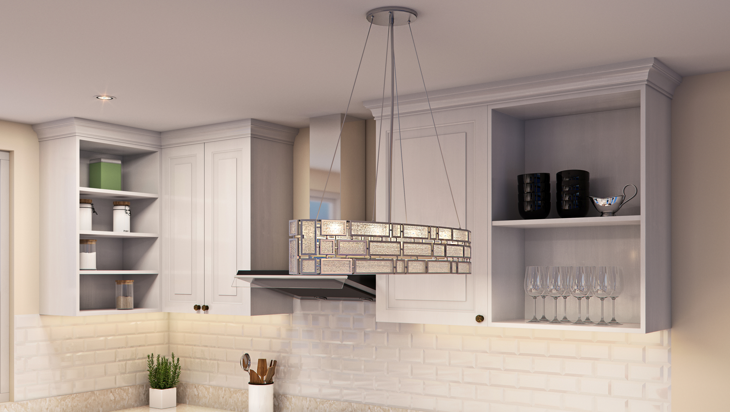 CGI Kitchen Chandelier Lighting Photography
