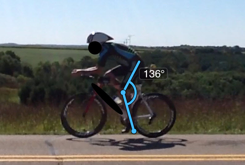 Just barely too small of an angle. Will feel squished and rocked backwards. This can cause lack of power while pedaling and a higher front end on an aero bike, defeating the purpose of aero. You can have a less aggressive front end, however keep the foot to butt contact points in mind.